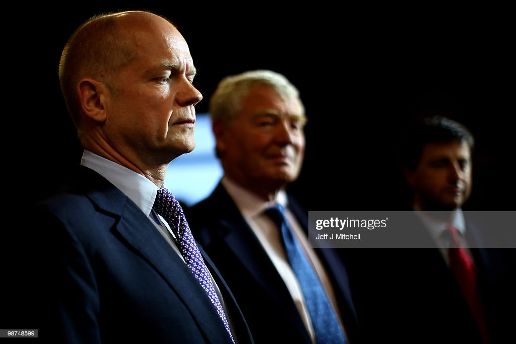 <a gi-track='captionPersonalityLinkClicked' href=/galleries/search?phrase=William+Hague&family=editorial&specificpeople=206295 ng-click='$event.stopPropagation()'>William Hague</a>, the Shadow Foreign Secretary, Former Liberal Democrat party leader <a gi-track='captionPersonalityLinkClicked' href=/galleries/search?phrase=Paddy+Ashdown&family=editorial&specificpeople=787236 ng-click='$event.stopPropagation()'>Paddy Ashdown</a> and Labour party election campaign director, <a gi-track='captionPersonalityLinkClicked' href=/galleries/search?phrase=Douglas+Alexander&family=editorial&specificpeople=616758 ng-click='$event.stopPropagation()'>Douglas Alexander</a> prepare to watch final Prime Ministerial debate being held at the University of Birmingham on April 29, 2010 in Birmingham, England.The General Election, to be held on May 6, 2010 is set to be one of the most closely fought political contests in recent times with all main party leaders embarking on a four week campaign to win the votes of the United Kingdom