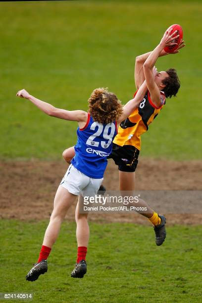 William Hamill of the Stingrays marks the ball during the round 14 TAC Cup match between Dandenong and Gippsland at Frankston Oval on July 29 2017 in...