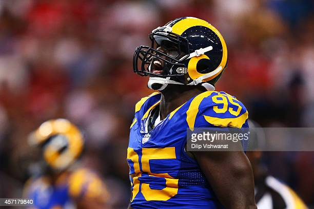 William Hayes of the St Louis Rams reacts in the second quarter against the San Francisco 49ers at Edward Jones Dome on October 13 2014 in St Louis...