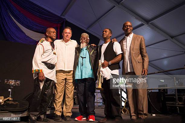 William Henderson Joe Farnsworth Pharoah Sanders Marlon Jordan and Nat Reeves perform at the Fairgrounds Race Course during the New Orleans Jazz And...