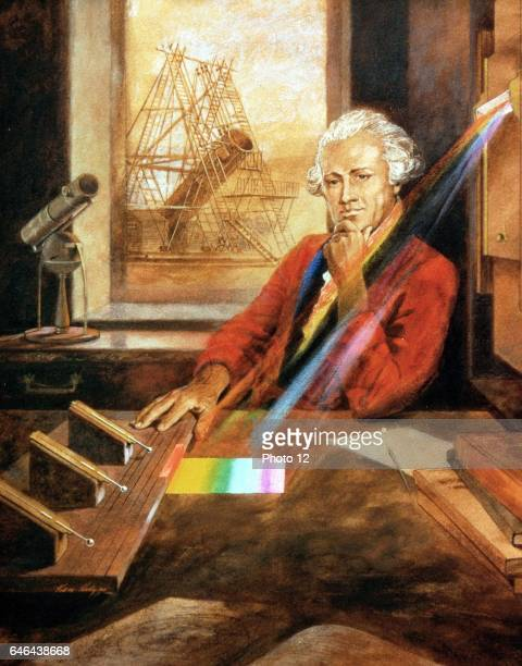 William Herschel Germanborn English astronomer investigating heating effect of infrared In background is Herschel's 40ft reflecting telescop Artist's...