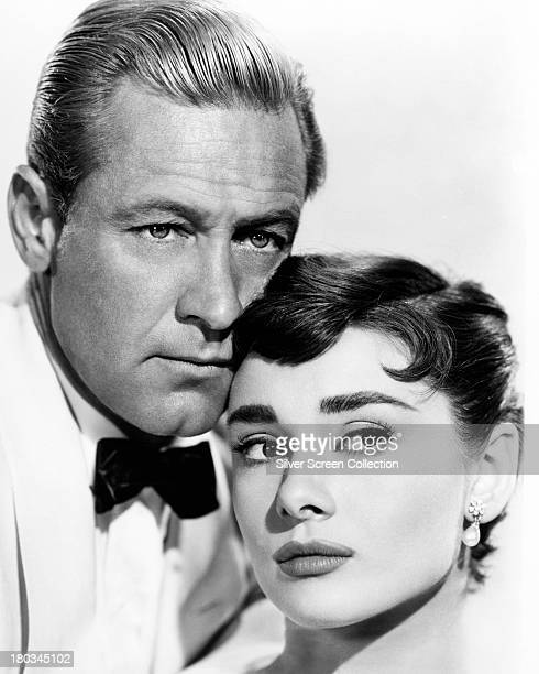 William Holden and Audrey Hepburn in a promotional portrait for 'Sabrina' directed by Billy Wilder 1954