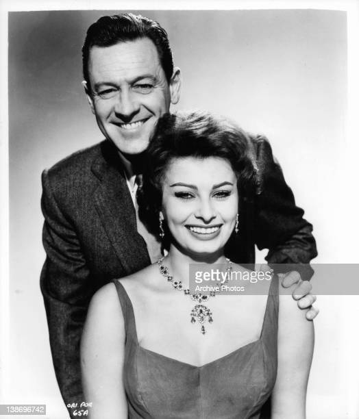 William Holden has hand on the shoulder of Sophia Loren in a scene from the film 'The Key' 1958