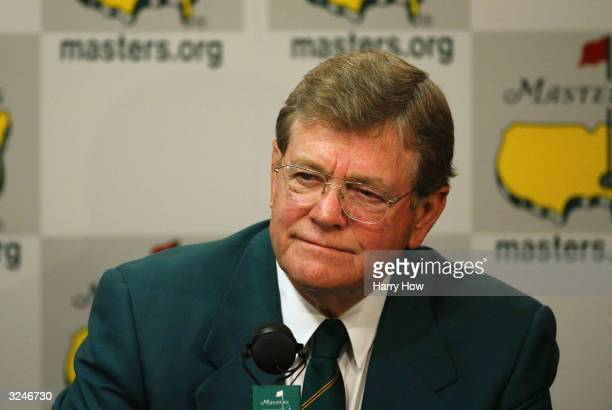 William 'Hootie' Johnson Chairman of the Augusta National Golf Club greets the media during the third practice day for the Masters at the Augusta...