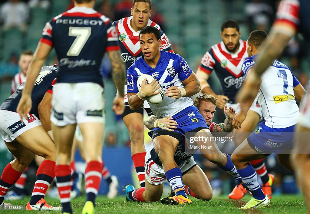 William Hopoate of the Bulldogs runs the ball during the round 17 NRL match between the Sydney Roosters and the Canterbury Bulldogs at Allianz Stadium on June 30, 2016 in Sydney, Australia.