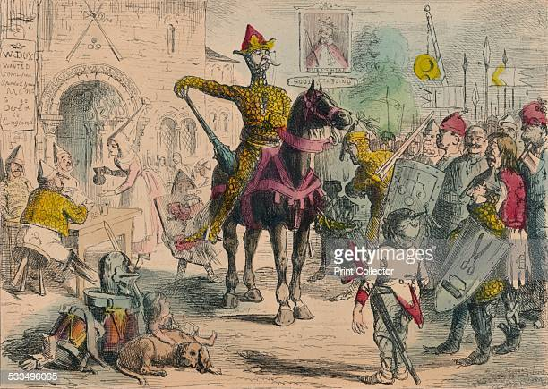 William inspecting the Volunteers previous to the Invasion of England 1850 A satirical illustration showing William the Conqueror rallying his troups...