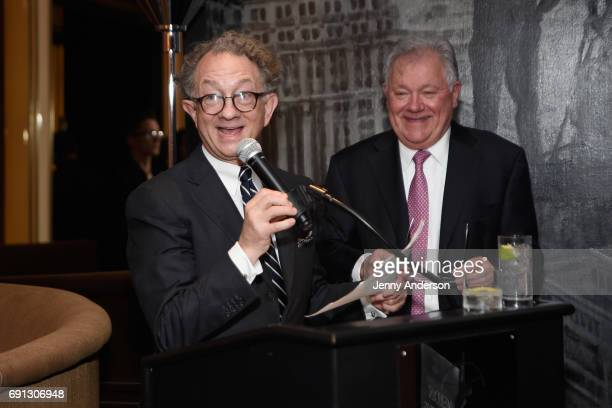 William Ivey Long and Robert Wankel speak at Designed To Celebrate A Toast To The 2017 Tony Awards Creative Arts Nominees at The Lamb's Club at the...