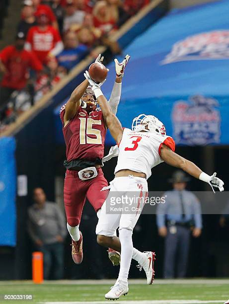 William Jackson III of the Houston Cougars breaks up a pass intended for Travis Rudolph of the Florida State Seminoles in the third quarter during...
