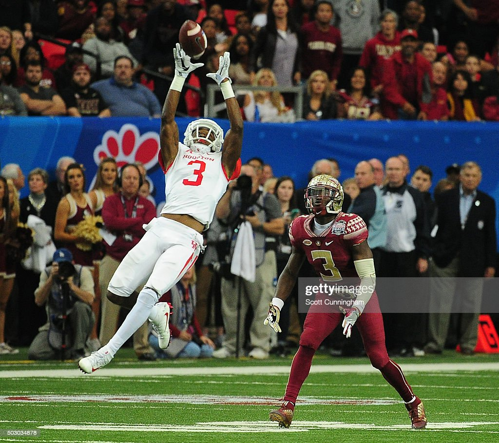 William Jackson III of the Houston Cougars intercepts a pass against the Florida State Seminoles during the ChickFilA Peach Bowl at the Georgia Dome...