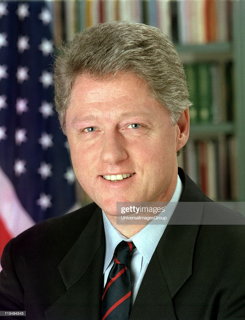 William Jefferson Clinton (born 1946) 42nd President of the United States from 1993-2001. Head-and-shoulders portrait with stars-and-stripes in background. American Politician Democrat.