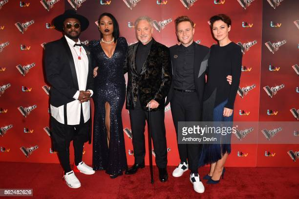 William Jennifer Hudson Sir Tom Jones Olly Murs and Emma Willis pose during The Voice UK 2018 launch photocall at Media City on October 17 2017 in...