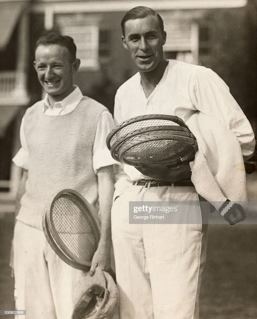 William Jonston, of California, and William T. Tilden, 11, of Philadelphia, are shown leaving the clubhouse at the German town Cricket Club, Manheim, Pa., yesterday to play against each other in the national singles lawn tennis championship tournament. Johnston won the first set but Tilden then took a brace and defeated him, eliminating the brilliant California player from the title play. The score was 4-6, 7-5, 6-4, 6-9.