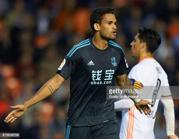 William Jose of Real Sociedad celebrates after scoring the second goal during the La Liga match between Valencia CF and Real Sociedad de Futbol at...