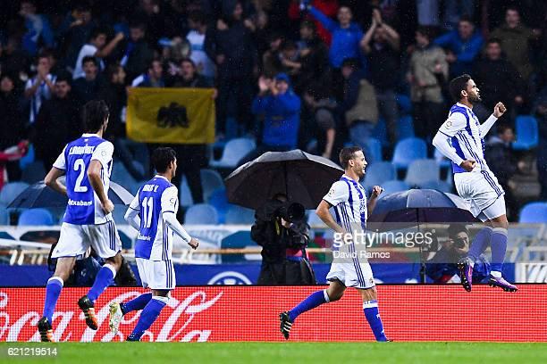 William Jose of Real Sociedad de Futbol celebrates after scoring his team's second goal during the La Liga match between Real Sociedad de Futbol and...