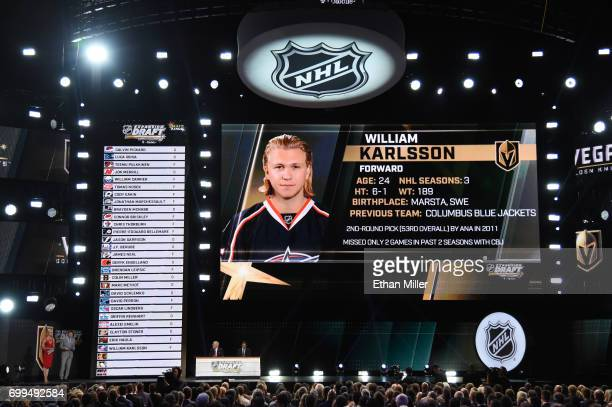 William Karlsson is selected by the Las Vegas Golden Knights during the 2017 NHL Awards and Expansion Draft at TMobile Arena on June 21 2017 in Las...