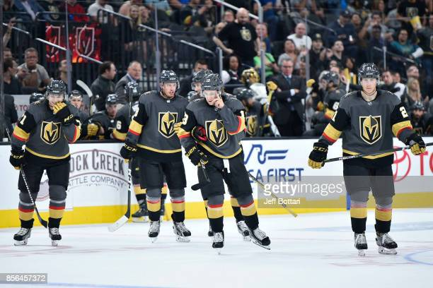 William Karlsson Nate Schmidt Shea Theodore Brendan Leipsic and Cody Eakin of the Vegas Golden Knights return to the ice following a timeout during...
