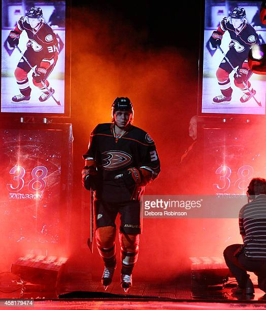 William Karlsson of the Anaheim Ducks is introduced before the game against the Minnesota Wild on October 17 2014 at Honda Center in Anaheim...