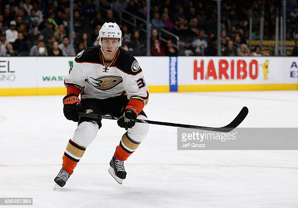 William Karlsson of the Anaheim Ducks skates against the Los Angeles Kings at Staples Center on September 25 2014 in Los Angeles California
