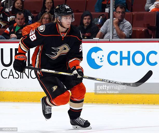 William Karlsson of the Anaheim Ducks skates against the San Jose Sharks on October 26 2014 at Honda Center in Anaheim California