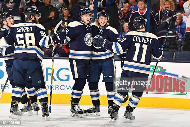 William Karlsson of the Columbus Blue Jackets celebrates his first period goal with his fellow teammates during a game against the New York Rangers...