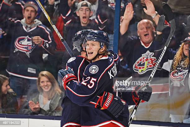William Karlsson of the Columbus Blue Jackets celebrates his third period goal with Kevin Connauton of the Columbus Blue Jackets during a game...