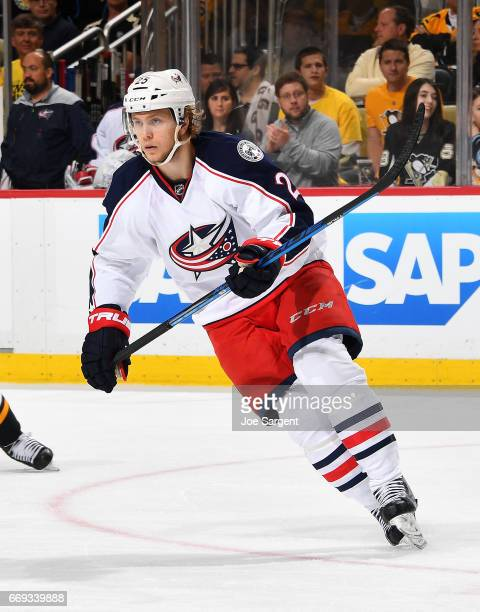 William Karlsson of the Columbus Blue Jackets skates against the Pittsburgh Penguins in Game Two of the Eastern Conference First Round during the...