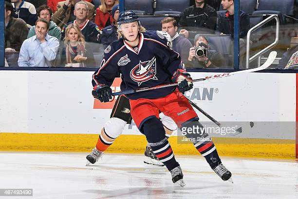 William Karlsson of the Columbus Blue Jackets skates against the Anaheim Ducks on March 24 2015 at Nationwide Arena in Columbus Ohio
