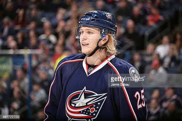 William Karlsson of the Columbus Blue Jackets skates against the St Louis Blues on November 17 2015 at Nationwide Arena in Columbus Ohio