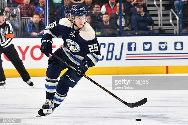 William Karlsson of the Columbus Blue Jackets skates with the puck during the first period of a game against the Edmonton Oilers on January 3 2017 at...
