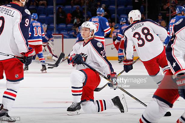 William Karlsson of the Columbus Blue Jackets stretches during pre game warmups before the game against the New York Rangers at Madison Square Garden...