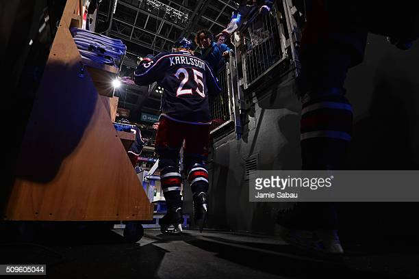 William Karlsson of the Columbus Blue Jackets takes the ice for pregame warm ups prior to a game against the Anaheim Ducks on February 11 2016 at...