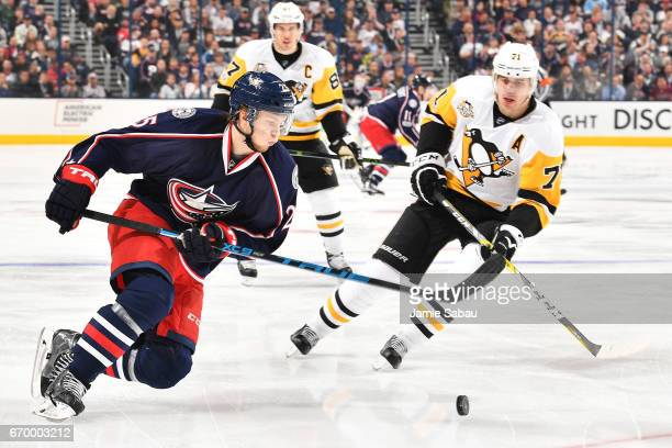 William Karlsson of the Columbus Blue Jackets turns with the puck during the first period in Game Four of the Eastern Conference First Round against...