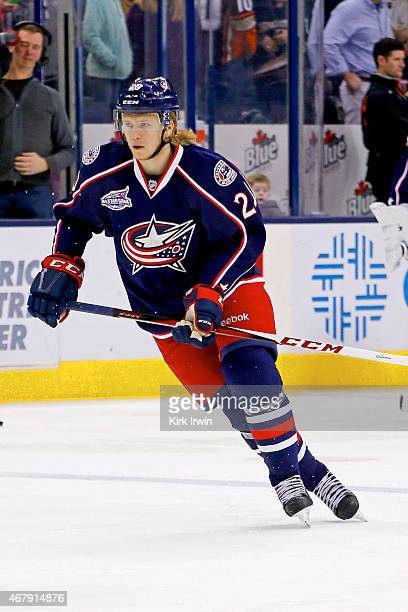 William Karlsson of the Columbus Blue Jackets warms up prior to the start of the game against the Anaheim Ducks on March 24 2015 at Nationwide Arena...