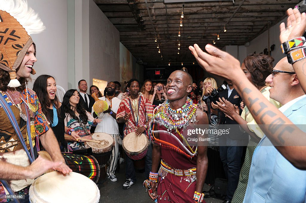 William Kikanae attends the Pikolinos pop up store opening celebrating the Maasai Project hosted by daughter of late United Nations Ambassador and celebrity activist Africa Engo with Juan Peran and Olivia Palermo on April 16, 2013 in New York City.