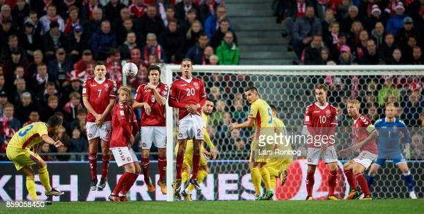 William Kvist Kasper Dolberg Thomas Delaney and Yussuf Poulsen of Denmark defending during the FIFA World Cup 2018 qualifier match between Denmark...