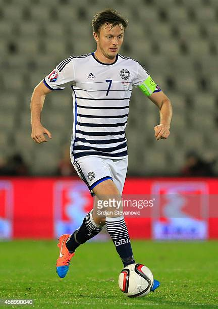 William Kvist of Denmark in action during the Euro 2016 group I qualifying football match between Serbia and Denmark at Partizan Stadium on November...