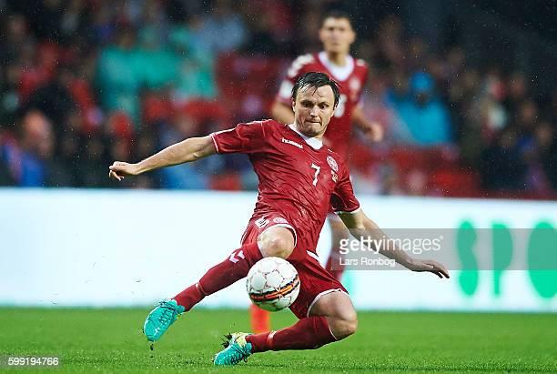 William Kvist of Denmark in action during the FIFA World Cup 2018 european qualifier match between Denmark and Armenia at Telia Parken Stadium on...