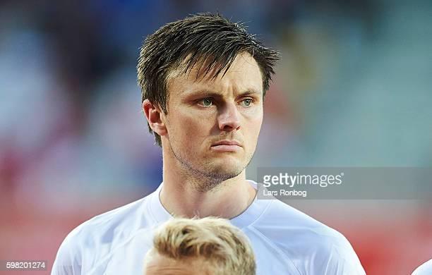 William Kvist of Denmark looks on prior to the international friendly match between Denmark and Liechtenstein at Casa Arena on August 31 2016 in...