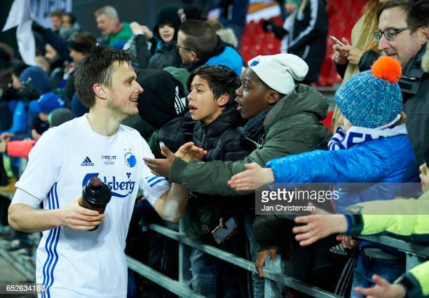 William Kvist of FC Copenhagen and fans after the Danish Alka Superliga match between FC Copenhagen and Esbjerg fB at Telia Parken Stadium on March...