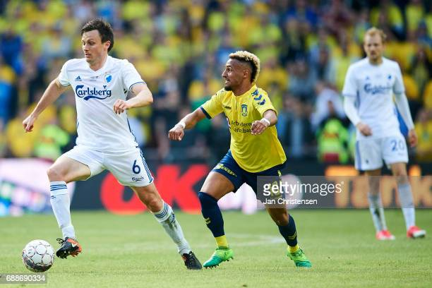 William Kvist of FC Copenhagen and Hany Mukhtar of Brondby IF compete for the ball during the Danish Cup Final DBU Pokalen match between FC...