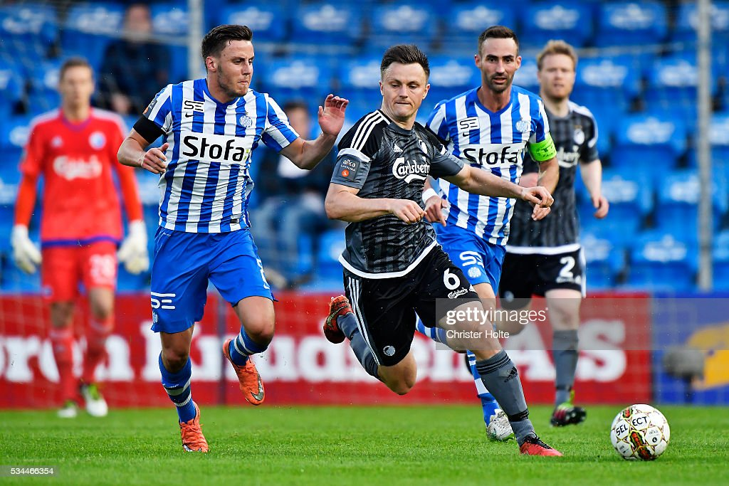 William Kvist of FC Copenhagen and Jeppe Andersen of Esbjerg fB the Danish Alka Superliga match between Esbjerg fB and FC Copenhagen at Blue Water Arena on May 26, 2016 in Esbjerg, Denmark.
