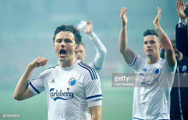 William Kvist of FC Copenhagen celebrates after the Danish Alka Superliga match between FC Copenhagen and Brondby IF at Telia Parken Stadium on April...