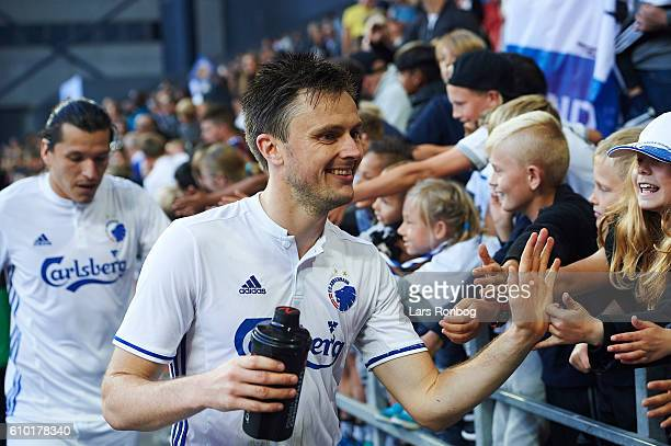 William Kvist of FC Copenhagen celebrates with young fans after the Danish Alka Superliga match between FC Copenhagen and AGF Aarhus at Telia Parken...