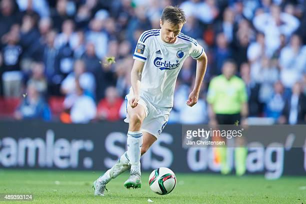 William Kvist of FC Copenhagen controls the ball during the Danish Alka Superliga match between FC Copenhagen and Hobro IK at Telia Parken Stadium on...