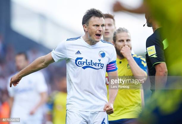 William Kvist of FC Copenhagen gesture against Referee Anders Poulsen during the Danish Alka Superliga match between Brondby IF and FC Copenhagen at...