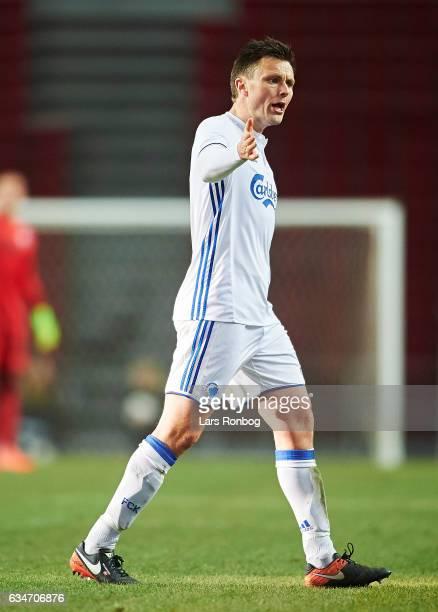 William Kvist of FC Copenhagen gestures during the preseason friendly match between FC Copenhagen and Rosenborg BK at Telia Parken Stadium on...