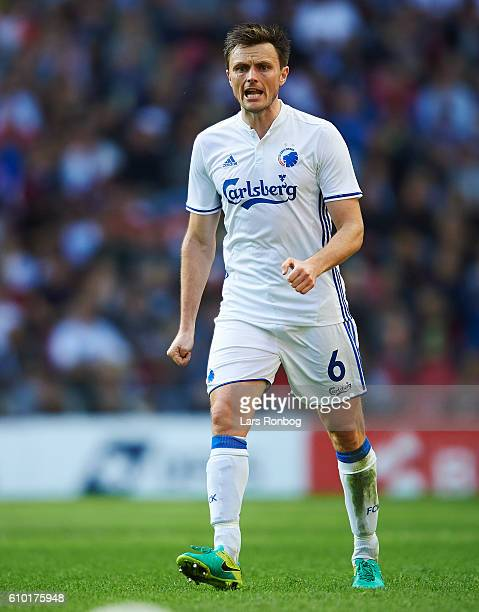 William Kvist of FC Copenhagen in action during the Danish Alka Superliga match between FC Copenhagen and AGF Aarhus at Telia Parken Stadium on...