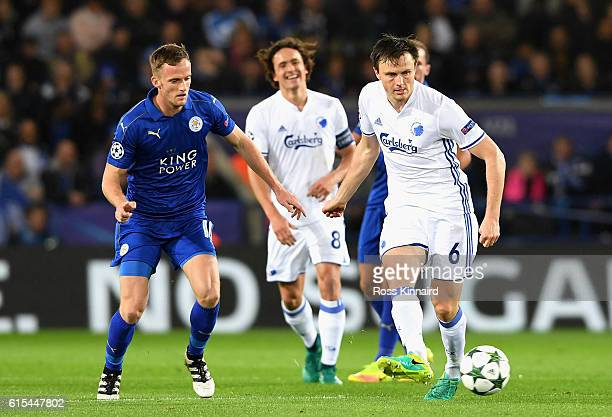 William Kvist of FC Copenhagen in action during the UEFA Champions League Group G match between Leicester City FC and FC Copenhagen at The King Power...