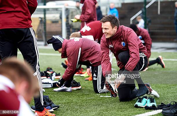 William Kvist of FC Copenhagen prepares his shoes prior to the FC Copenhagen first training session at KB's baner on January 11 2016 in Frederiksberg...
