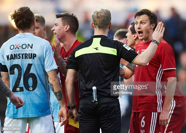 William Kvist of FC Copenhagen shows frustration against Referee Dennis Mogensen during the Danish Alka Superliga match between Sonderjyske and FC...
